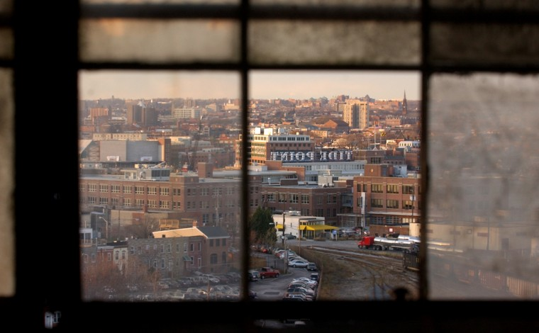 Dec. 1, 2003: View looking north from the 29 story grain elevator in Locust Point. (John Makely, Baltimore Sun)