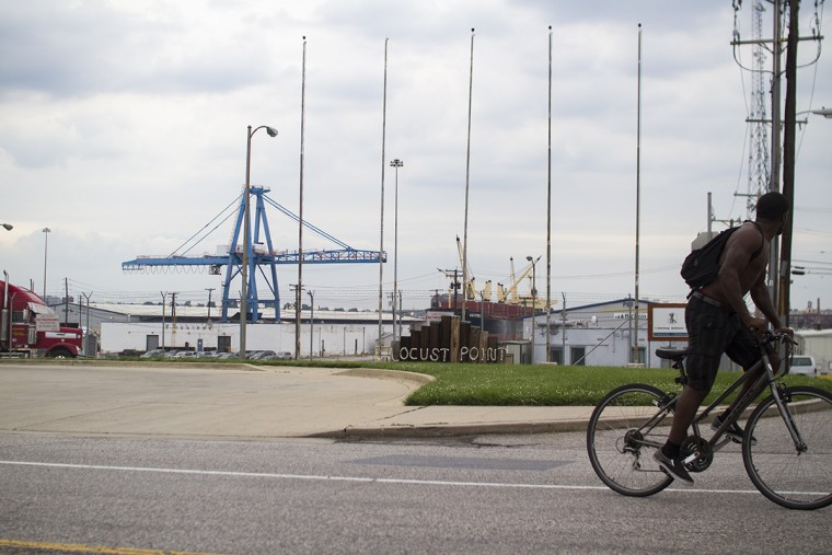 The Locust Point sign north of Fort McHenry. (Kalani Gordon, Baltimore Sun, June 2015)