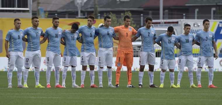 July 30, 1930: The Uruguay men's soccer team, whose team can be seen here in 2015, wins the first ever FIFA World Cup. (FP PHOTO / OMAR TORRESOMAR TORRES/AFP/Getty Images )
