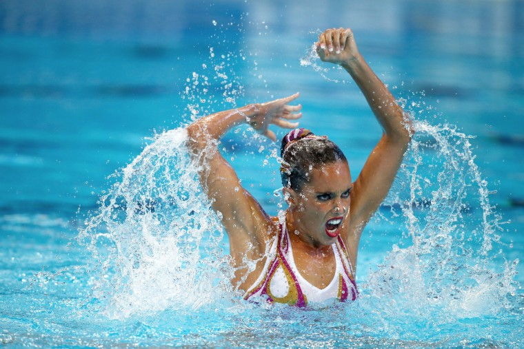 Ona Carbonell of Spain competes in the Women's Solo Technical Synchronised Swimming Final on day one of the 16th FINA World Championships at the Kazan Arena on July 25, 2015 in Kazan, Russia. (Clive Rose/Getty Images)