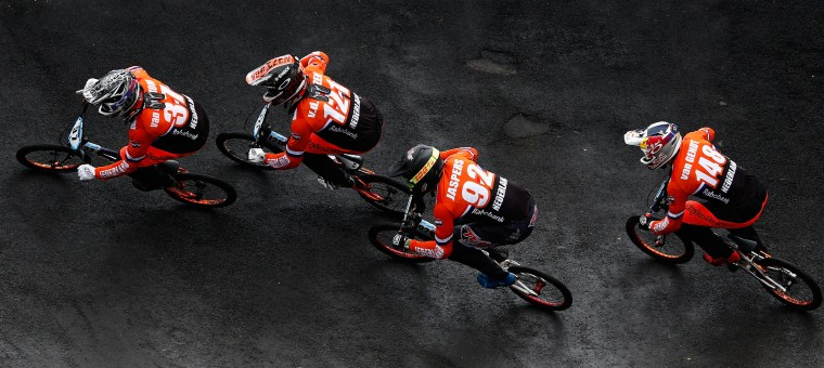 Jelle Van Gorkom, Raymon Van Der Biezen, Martijn Jaspers and Twan Van Gendt, all of the Netherlands compete in the Mens Elite qualifying quarter final motos during day 5 of the UCI BMX World Championships at on July 25, 2015 in Zolder, Belgium. (Dean Mouhtaropoulos/Getty Images)