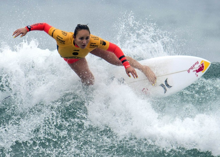 Carissa Moore competes in the second round of the U.S. Open of Surfing, Wednesday, July 29, 2015,in Huntington Beach, Calif. (Kyusung Gong/AP photo)