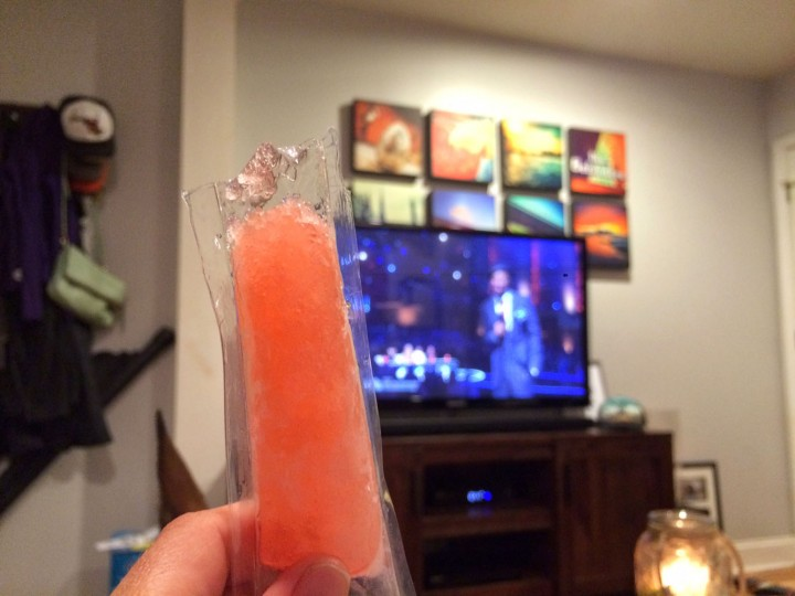 "Freeze pops -- they're not just for kids. A little dessert with Tom's favorite, ""America's Got Talent."" Don't ask me why, but Nick Cannon is one of his favorite people."