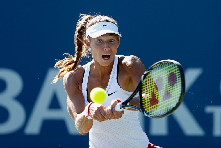 Vitalia Diatchenko of Russia plays against Ajla Tomljanovic of Croatia during day two of the Bank of the West Classic at the Stanford University Taube Family Tennis Stadium on August 4, 2015 in Stanford, California. (Photo by Lachlan Cunningham/Getty Images)
