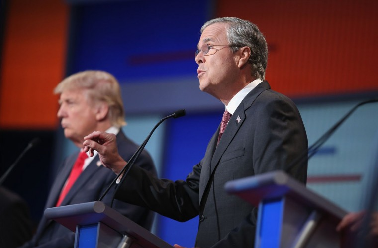 Republican presidential candidate Jeb Bush (R) fields a question during the first Republican presidential debate hosted by Fox News and Facebook at the Quicken Loans Arena on August 6, 2015 in Cleveland, Ohio. The top ten GOP candidates were selected to participate in the debate based on their rank in an average of the five most recent political polls. (Photo by Scott Olson/Getty Images)
