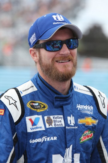 Dale Earnhardt Jr., driver of the #88 Nationwide Chevrolet, stands on the grid during qualifying for the NASCAR Sprint Cup Series Cheez-It 355 at Watkins Glen International on August 8, 2015 in Watkins Glen, New York. (Jerry Markland/Getty Images)