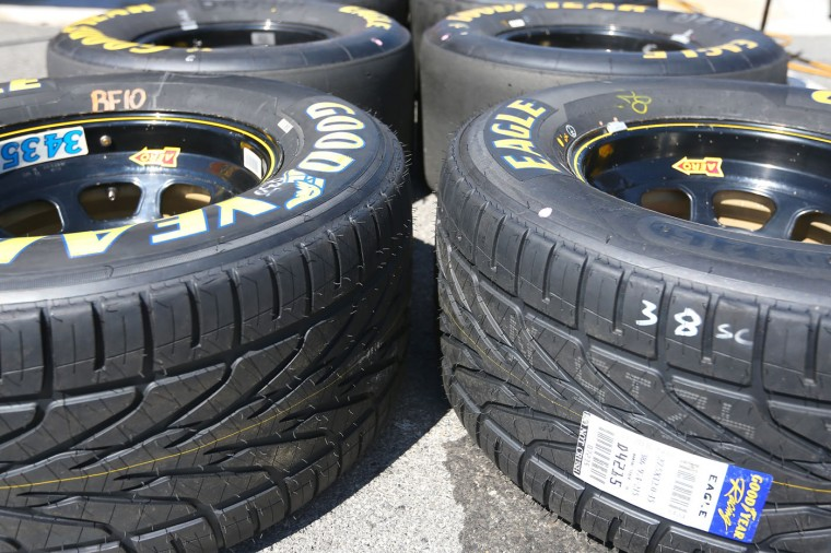 Rain tires are shown prior to the NASCAR Sprint Cup Series Cheez-It 355 at the Glen at Watkins Glen International on August 9, 2015 in Watkins Glen, New York. (Matt Sullivan/Getty Images)