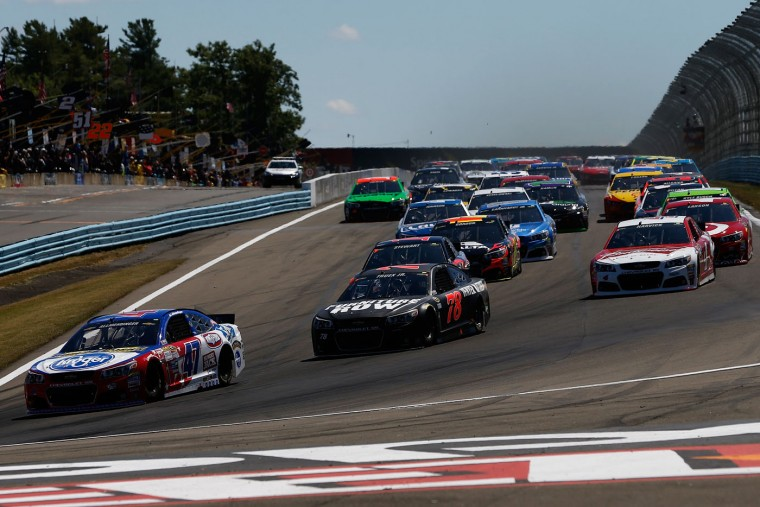 AJ Allmendinger, driver of the #47 Kroger/Bush's Beans Chevrolet, leads the field to start the NASCAR Sprint Cup Series Cheez-It 355 at the Glen at Watkins Glen International on August 9, 2015 in Watkins Glen, New York. (Jeff Zelevansky/Getty Images)