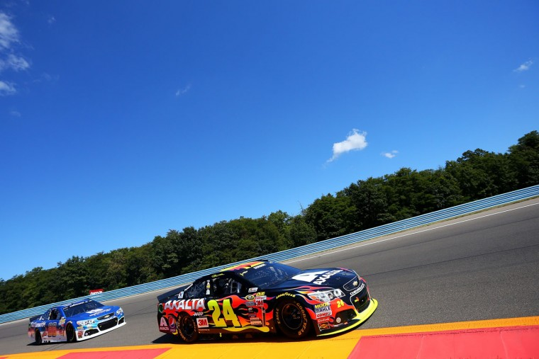 Jeff Gordon, driver of the #24 Axalta Chevrolet, leads Dale Earnhardt Jr., driver of the #88 Nationwide Chevrolet, during the NASCAR Sprint Cup Series Cheez-It 355 at the Glen at Watkins Glen International on August 9, 2015 in Watkins Glen, New York. (Matt Sullivan/Getty Images)