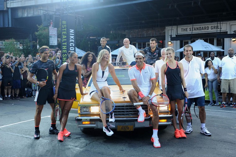 "Tennis Players Rafael Nadal, Serena Williams, Madison Keys, Nick Kyrgios, Maria Sharapova, Pete Sampras, Andre Agassi, Genie Bouchard, Roger Federer, Grigor Dimitrov and John McEnroe attends Nike's ""NYC Street Tennis"" event on August 24, 2015 in New York City. (Brad Barket/Getty Images)"