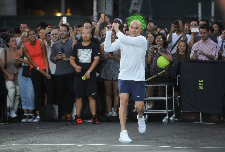 "Tennis player Andre Agassi attends Nike's ""NYC Street Tennis"" event on August 24, 2015 in New York City. (Brad Barket/Getty Images)"