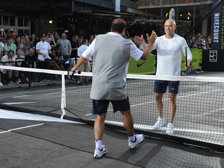 "Tennis player Pete Sampras. left, and Andre Agassi attend Nike's ""NYC Street Tennis"" event on August 24, 2015 in New York City. (Brad Barket/Getty Images)"