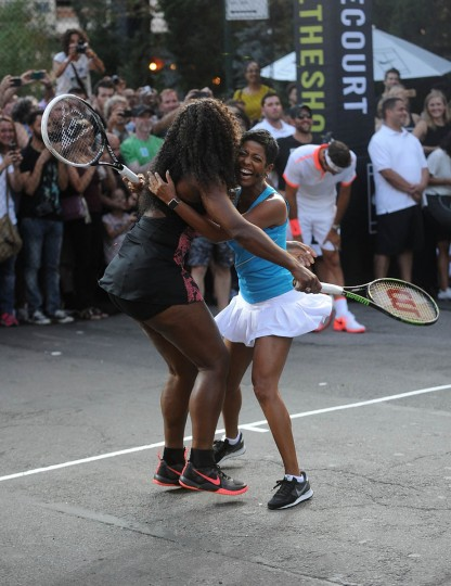 "Tennis player Serena Williams, left, and Tamron Hall attend Nike's ""NYC Street Tennis"" Event on August 24, 2015 in New York City. (Brad Barket/Getty Images)"