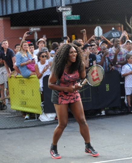 "Tennis player Serena Williams attends Nike's ""NYC Street Tennis"" Event on August 24, 2015 in New York City. (Brad Barket/Getty Images)"