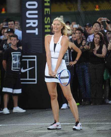 "Tennis player Maria Sharapova attends Nike's ""NYC Street Tennis"" Event on August 24, 2015 in New York City. (Brad Barket/Getty Images)"