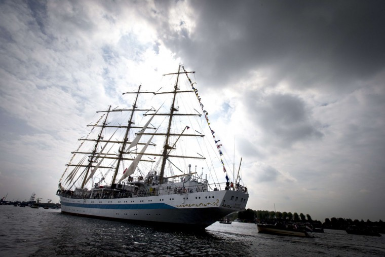 The Tall Ship MIR from Russia enters Amsterdam on August 19, 2015, to join the parade of ships during the five-yearly event Sail. (JERRY LAMPEN/AFP/Getty Images)