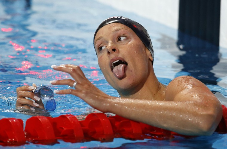 Italy's Federica Pellegrini sticks out her tongue after a women's 200m freestyle semifinal at the Swimming World Championships in Kazan, Russia, Tuesday, Aug. 4, 2015. (AP Photo/Sergei Grits)