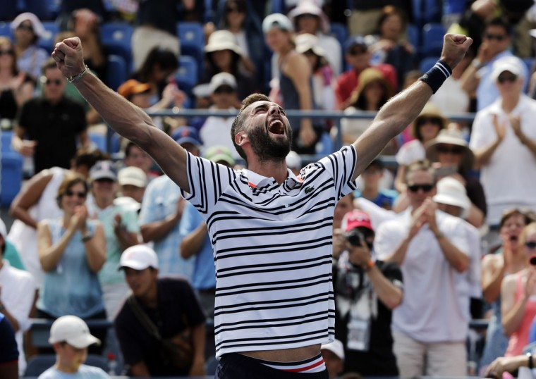 Benoit Paire, of France, reacts after defeating Kei Nishikori, of Japan, during the first round of the U.S. Open tennis tournament, Monday, Aug. 31, 2015, in New York. (AP Photo/Charles Krupa)