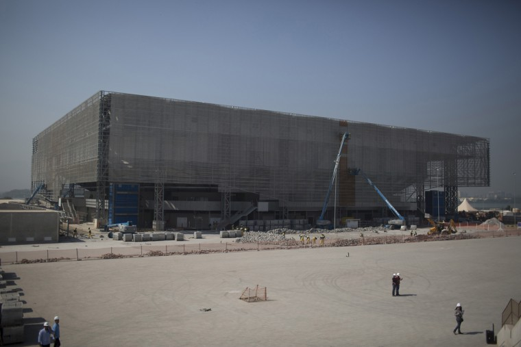 The future arena for Olympic handball is built in Rio de Janeiro, Brazil, Wednesday, Aug. 5, 2015. Rio de Janeiro Mayor Eduardo Paes said on Wednesday all the venues for South America's first games are on track to be ready when the curtain comes up on Aug. 5 next year. (AP Photo/Leo Correa)
