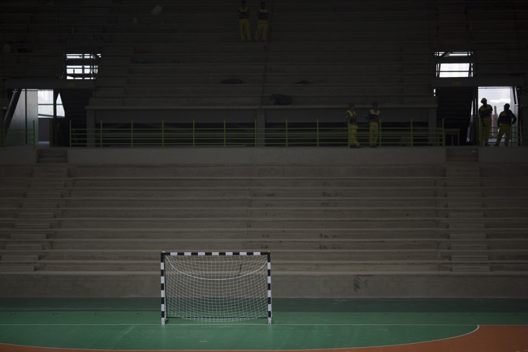 A goal area stands on a handball court after a press conference inside an arena under construction at Olympic Park in Rio de Janeiro, Brazil, Wednesday, Aug. 5, 2015. Rio de Janeiro Mayor Eduardo Paes said on Wednesday all the venues for South America's first games are on track to be ready when the curtain comes up on Aug. 5 next year. (AP Photo/Leo Correa)