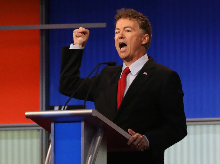 Republican presidential candidate Sen. Rand Paul. R-Ky., speaks during the first Republican presidential debate at the Quicken Loans Arena Thursday, Aug. 6, 2015, in Cleveland. (AP Photo/Andrew Harnik)
