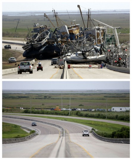 This combination of Oct. 10, 2005 and Aug. 4, 2015 photos shows a tangle of fishing boats blocking the lanes of Highway 23 in Empire, La. after Hurricane Katrina ravaged the region, and the same site a decade later. (AP Photo/Don Ryan, Gerald Herbert)