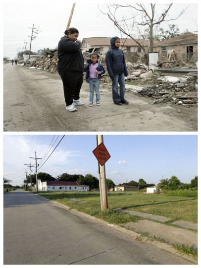 This combination of Dec. 10, 2005 and July 28, 2015 photos show Valerie Thomas, of New Orleans, left, and her nieces Shante Fletcher, 6, and Sarine Fletcher, 11, right, looking at the destruction of Valerie's brother's home in the Lower Ninth Ward of New Orleans after returning to it for the first time since Hurricane Katrina, and empty lots in the same area a decade later. The storm went down in history as the costliest natural disaster to strike the U.S., with $150 billion in damages to homes and other property. It was also one of the deadliest - nearly 2,000 died. (AP Photo/Gerald Herbert)