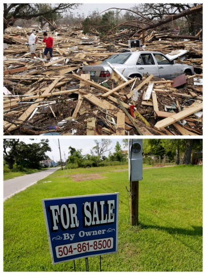 This combination of Sept. 1, 2005 and July 29, 2015 photos show Harry and Silvia Pulizzano walking across debris from Hurricane Katrina in search of Silvia's brother's home in Waveland, Miss., and the same site a decade later. The storm caused major damage to the Gulf Coast from Texas to central Florida. (AP Photo/John Bazemore, Gerald Herbert)