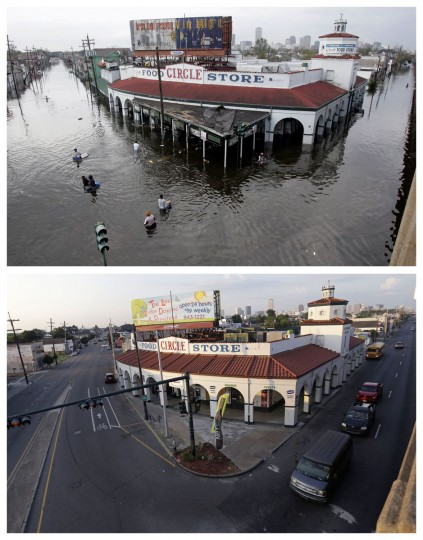 This combination of Aug. 30, 2005 and Aug. 14, 2015 photos shows people wading through floodwaters as they go in and out of the Circle Food Store in New Orleans after Hurricane Katrina, and the grocery store a decade later. The storm went down in history as the costliest natural disaster to strike the U.S., with $150 billion in damages to homes and other property. It was also one of the deadliest - nearly 2,000 died. (AP Photo/Dave Martin, Gerald Herbert)