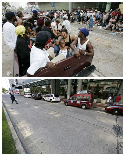 This combination of Sept. 1, 2005 and Aug. 14, 2015 photos shows flood victims in a pickup truck as hundreds of others wait for evacuation at the Ernest N. Morial Convention Center in New Orleans in the aftermath of Hurricane Katrina, and the same site a decade later. Nearly 2,000 people died because of the storm, mostly in New Orleans, 80 percent of which was flooded for weeks. One million people were displaced. (AP Photo/Eric Gay, Gerald Herbert)