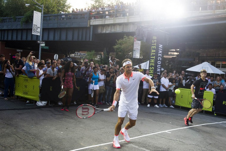 Roger Federer plays in Nike's Street Tennis Pro Event in Greenwich Village on Monday, Aug. 24, 2015, in New York. (Charles Sykes/AP)