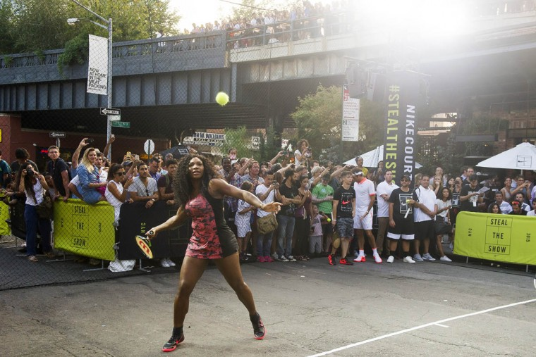 Serena Williams plays in Nike's Street Tennis Pro Event in Greenwich Village on Monday, Aug. 24, 2015, in New York. (Charles Sykes/AP)