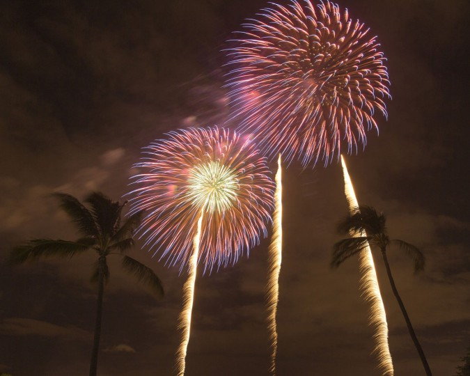 Fireworks from Nagaoka City, Japan explode over Ford Island to celebrate the 70th anniversary of the end of World War II at Joint Base Pearl Harbor-Hickam, Saturday, Aug. 15, 2015, in Honolulu. (AP Photo/Marco Garcia)