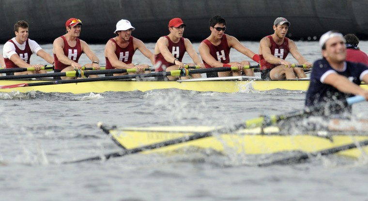 Aug. 3, 1852: The first regatta is held between Harvard and Yale -- a tradition still continued today, as seen here in 2011. It was also the first American intercollegiate athletic competition. (AP Photo/Jessica Hill)
