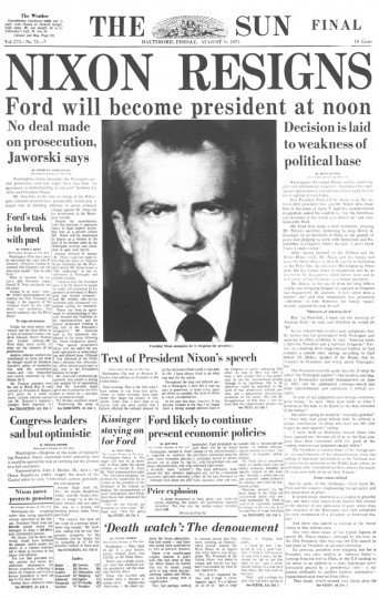 Aug. 8, 1974: Following the Watergate scandal, President Richard Nixon announces his resignation. (Baltimore Sun front page photo from Aug. 9, 1974)