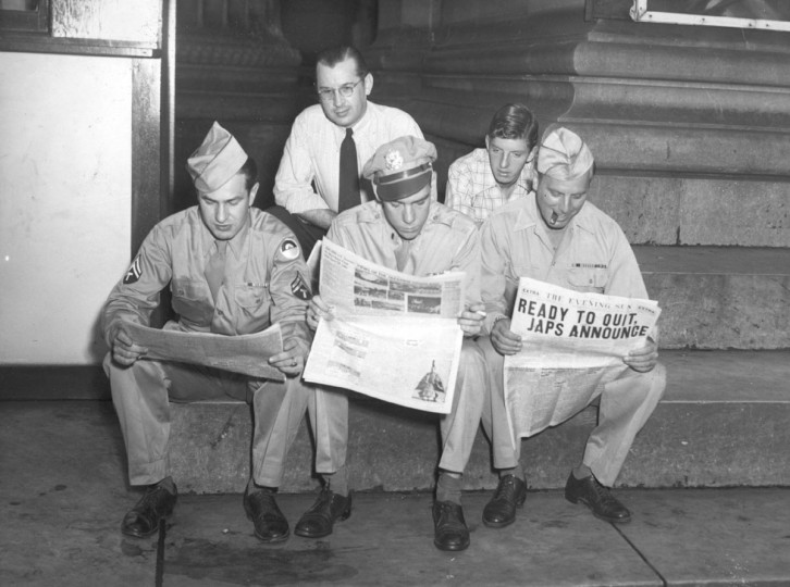 (Left to Right) Front Row: Cpl. Bernard Silverstein, 1st Lt. Norbourn Thomas, S.S. and Albert Karl Sapp. Rear Row: John P. Matusiewski, Phillip Walston. (Baltimore Sun archives)