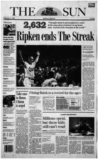 Ripken ends the streak.
