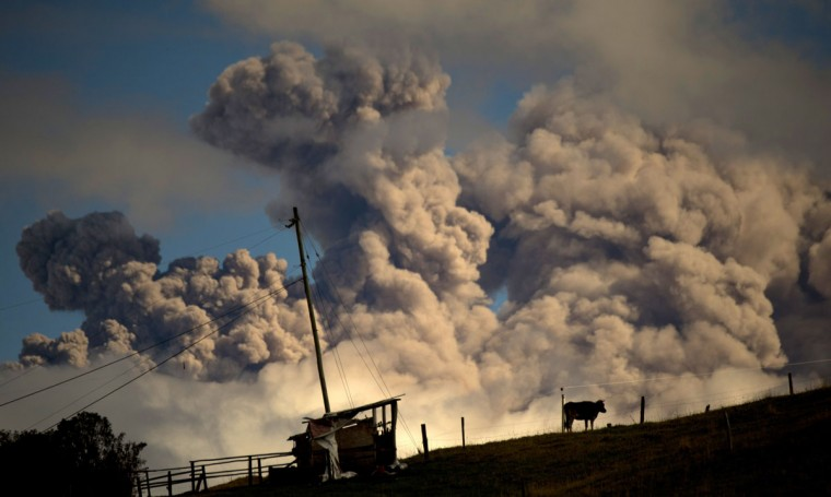 View of ashes spewed by the Cotopaxi volcano in Sangolqui, Ecuador on August 23, 2015. A dozen towns of central Ecuador, including Quito sector, suffered Saturday the ashes of the Cotopaxi volcano, which started erupting a week ago after 138 years, as crops and cattle were affected. (MARTIN BERNETTI/AFP/Getty Images)