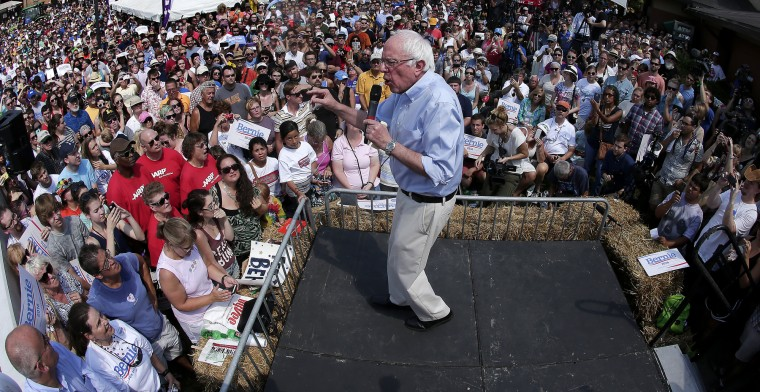 Democratic presidential candidate Sen. Bernie Sanders, I-Vt., speaks at from the soap box at the Iowa State Fair Saturday, Aug. 15, 2015, in Des Moines. (Charlie Riedel/Associated Press)