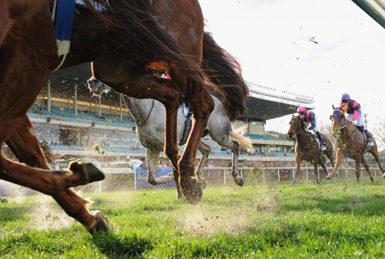 Horses kick up sand in Race 7, the IPrint Carlyon Stakes during Melbourne racing at Moonee Valley racecourse on August 22, 2015 in Melbourne, Australia. (Vince Caligiuri/Getty Images)