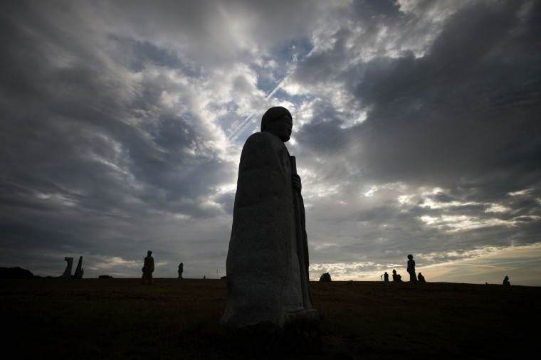 The Valley of Saints is a sort of contemporary Easter Island in Brittany, France, with some 60 monumental sculptures of Breton Saints. 100,000 people visited this valley in 2014, which was inaugurated in 2012. (Jean-Sebastian Evrard/AFP-Getty Images)
