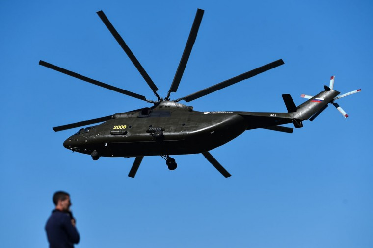 A Russian Mi-26 heavy transport helicopter performs on rehearsal day for the MAKS-2015, the International Aviation and Space Show, in Zhukovsky, outside Moscow, on August 21, 2015. The MAKS-2015 will be held in Zhukovsky from August 25 to 30. (KIRILL KUDRYAVTSEV/AFP/Getty Images)