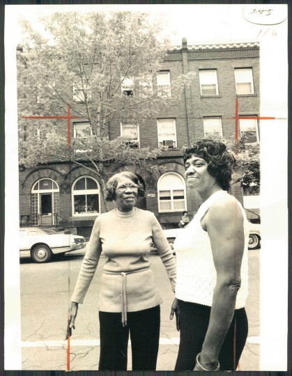 Bertha Brown, left, and Mamie Bagby were neighbors for 18 years in this Reservoir Hill apartment building. But the complex will be sold and converted into a single-family townhome. (Baltimore Sun photo by Irving H. Phillips Jr.)