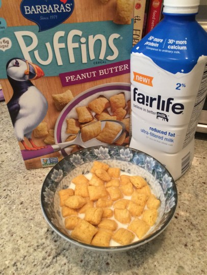Breakfast of champions: Peanut Butter Puffins and milk. People with CF have to make sure they get enough calories because our bodies work so hard just to breathe.