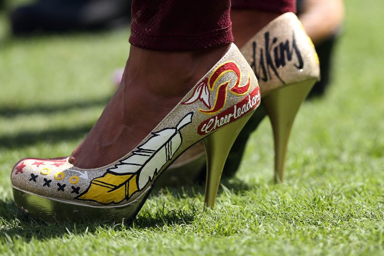 A fan wears Washington Redskins themed shoes prior to a game between the Washington Redskins and Miami Dolphins at FedExField on September 13, 2015 in Landover, Maryland. (Patrick Smith/Getty Images)