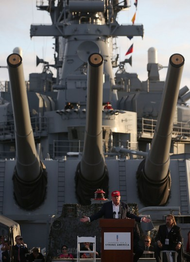 Republican presidential candidate Donald Trump speaks during a campaign rally aboard the USS Iowa on September 15, 2015 in Los Angeles, California. Donald Trump is campaigning in Los Angeles a day ahead of the CNN GOP debate that will be broadcast from the Ronald Reagan Presidential Library in Simi Valley. (Photo by Justin Sullivan/Getty Images)