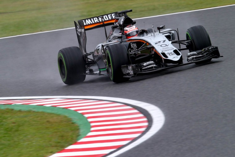 Nico Hulkenberg of Germany and Force India drives during practice for the Formula One Grand Prix of Japan at Suzuka Circuit on September 25, 2015 in Suzuka. (Clive Rose/Getty Images)
