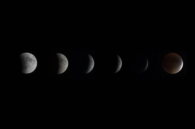 This composite image shows the progression of the total lunar eclipse to a Blood Moon in Centreville, MD, September 27, 2015. (AFP Photo/Jim Watson)