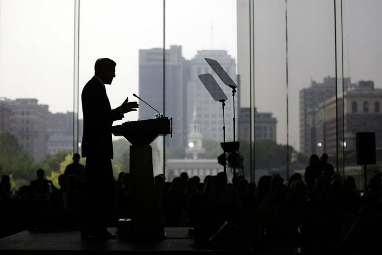 """Secretary of State John Kerry delivers a speech in support of the Iran nuclear deal at the National Constitution Center, Wednesday, Sept. 2, 2015, in Philadelphia. In a letter delivered to Congress Wednesday, Secretary of State John Kerry called Israel's security """"sacrosanct,"""" recounting the billions of dollars the U.S. has provided the Jewish state for missile defense and other security assistance. U.S. and Israeli officials, he said, are working on a deal to """"cement for the next decade our unprecedented levels of military assistance."""" (AP Photo/Matt Slocum)"""
