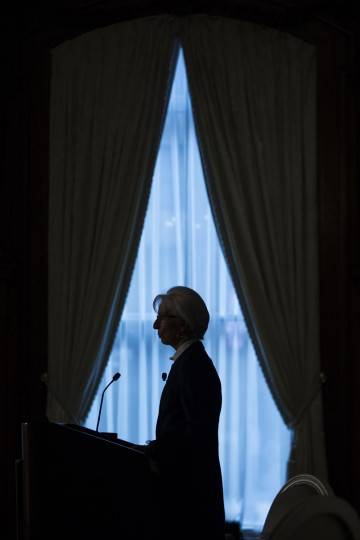 International Monetary Find (IMF) Managing Director Christine Lagarde speaks during an event hosted by the Council of the Americas in Washington, Wednesday, Sept. 30, 2015. Lagarde said global growth will likely be weaker this year as the world economy confronts a host of problems, including a refugee crisis in Europe, an economic slowdown in China and a pending rise in U.S. interest rates. (AP Photo/Evan Vucci)